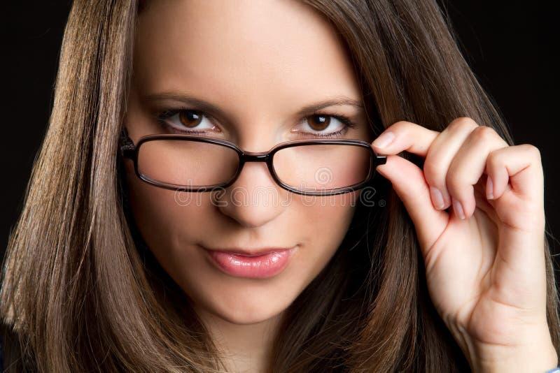Mulher dos vidros fotografia de stock royalty free
