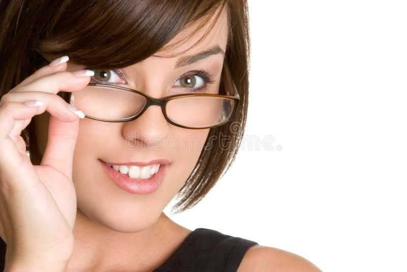 Mulher dos vidros fotografia de stock