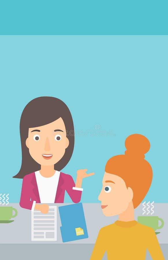 Mulher durante a entrevista da tevê ilustração royalty free