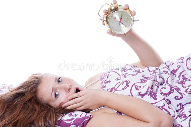 A mulher durmiu demais fotografia de stock