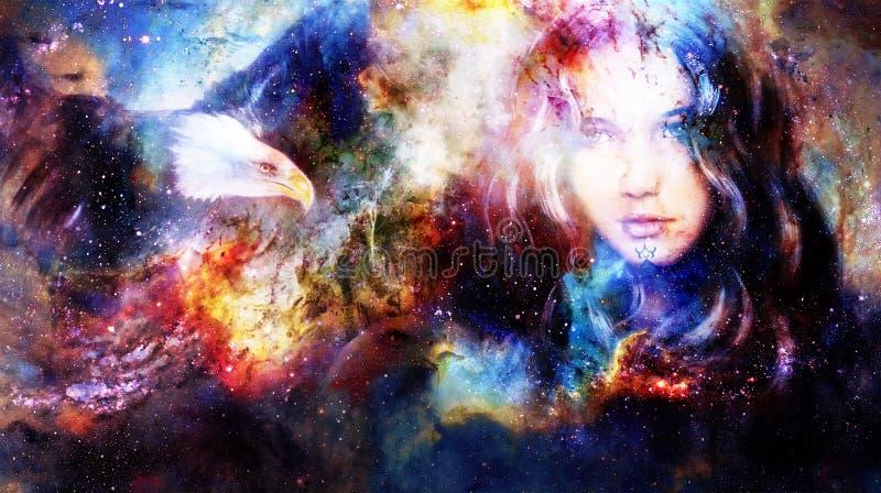 Mulher e águias de Goodnes Fundo cósmico do espaço ilustração stock