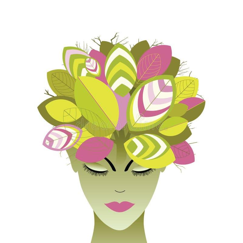 Mulher e árvore com folhas ilustração royalty free
