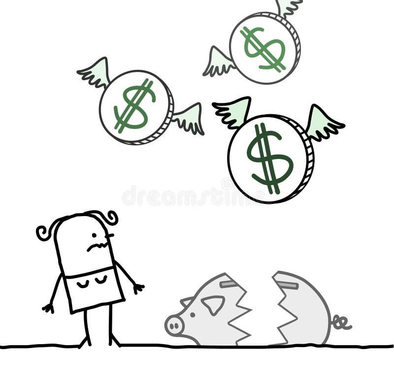 Mulher e banco piggy quebrado ilustração royalty free