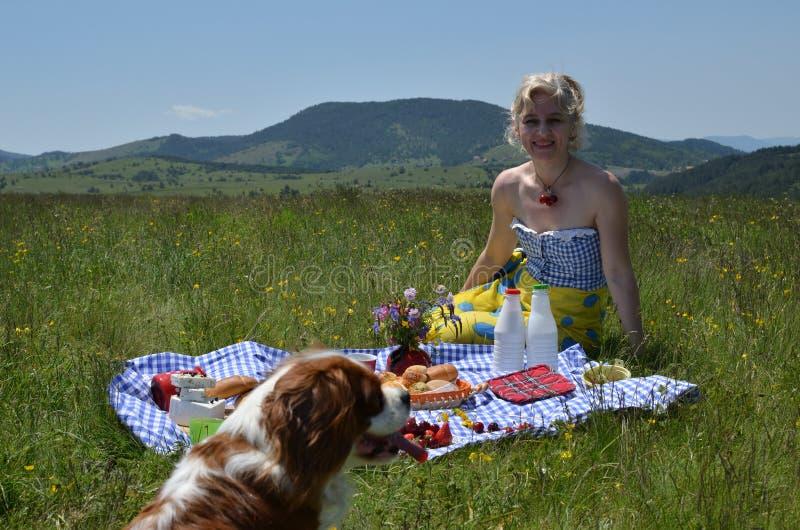 Mulher e cão no piquenique imagem de stock
