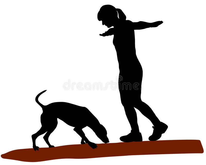 Mulher e cão no registro ilustração royalty free