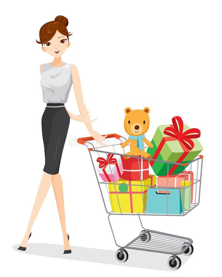 Mulher e carrinho de compras completamente dos presentes ilustração stock