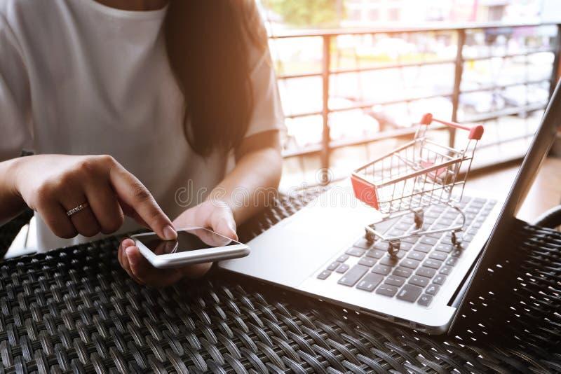 Mulher e carrinho de compras pequeno com o portátil para o Internet em linha sh fotos de stock