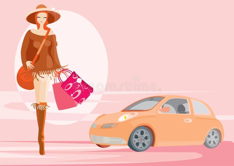Mulher e carro ilustração royalty free