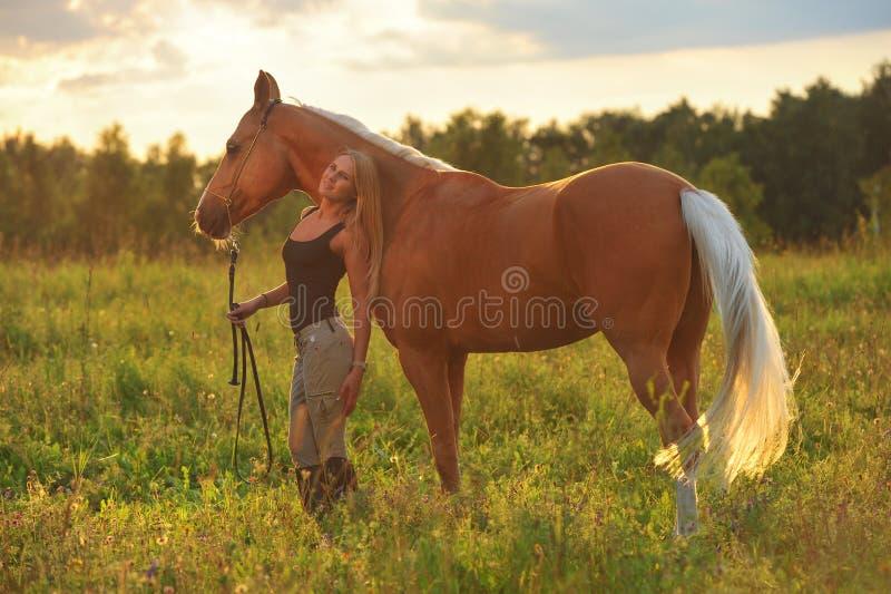 Mulher e cavalo dourado imagens de stock royalty free