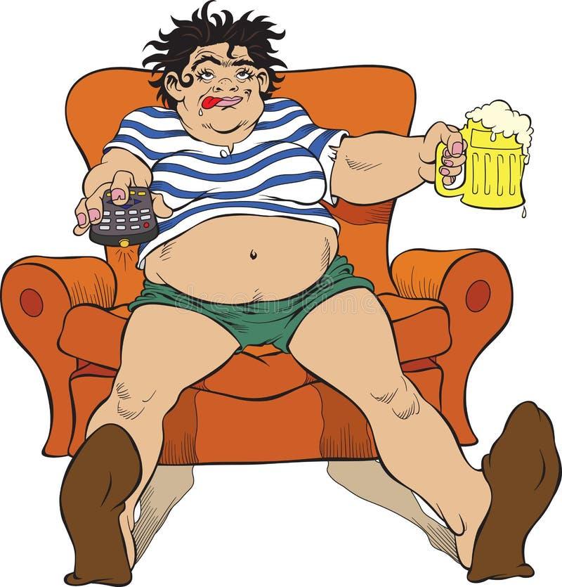Mulher e cerveja ilustração royalty free