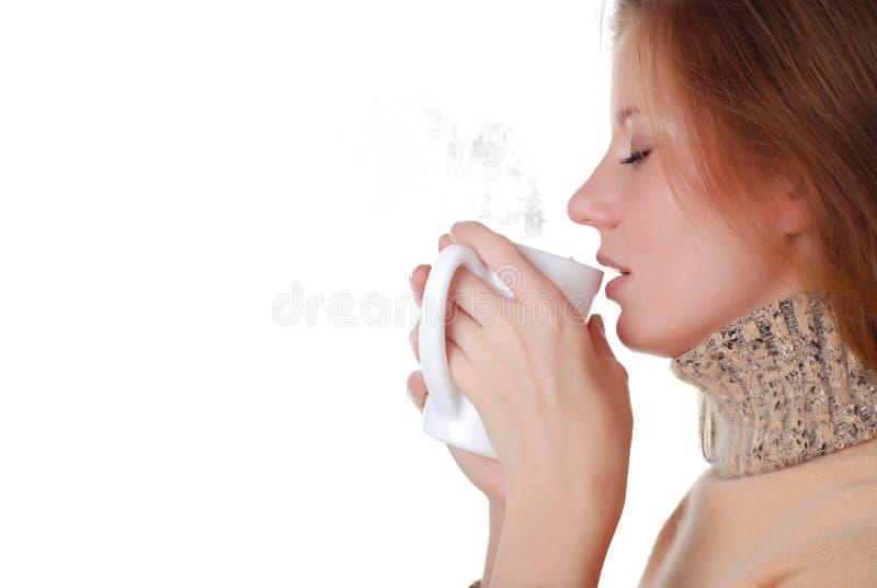 Mulher e chávena de café fotografia de stock
