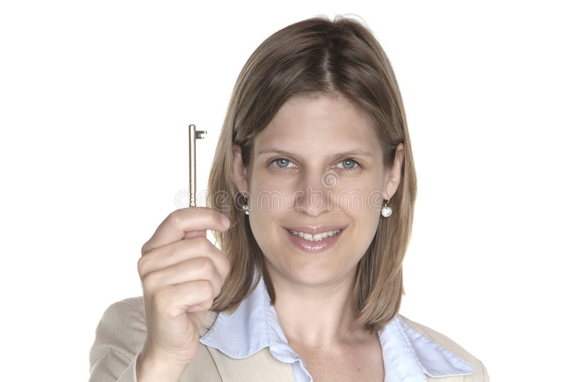 Mulher e chave foto de stock
