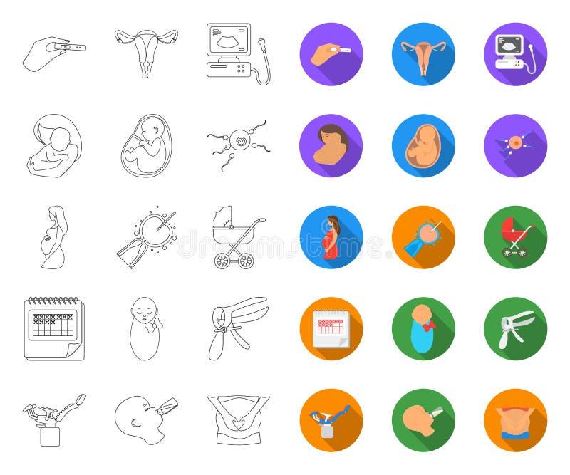 Mulher e esboço da gravidez, ícones lisos em coleção ajustada para o projeto Web do estoque do s?mbolo do vetor da ginecologia e  ilustração royalty free
