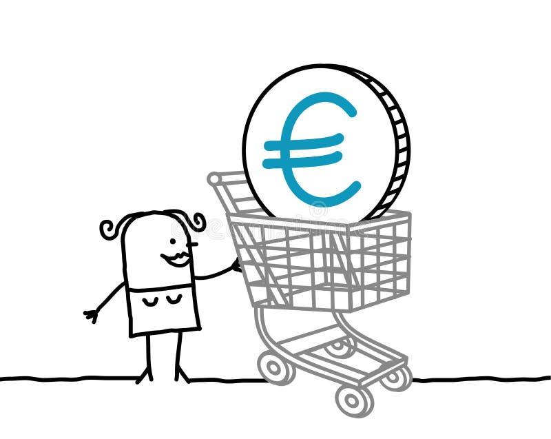 Mulher e euro em um carro de compra ilustração royalty free