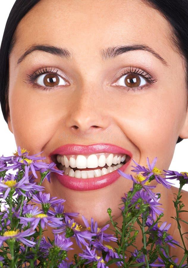 Mulher e flores imagens de stock