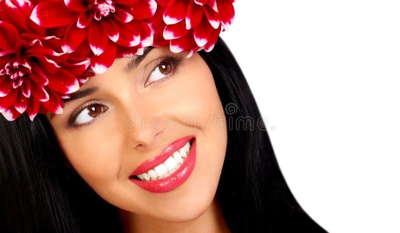 Mulher e flores fotografia de stock
