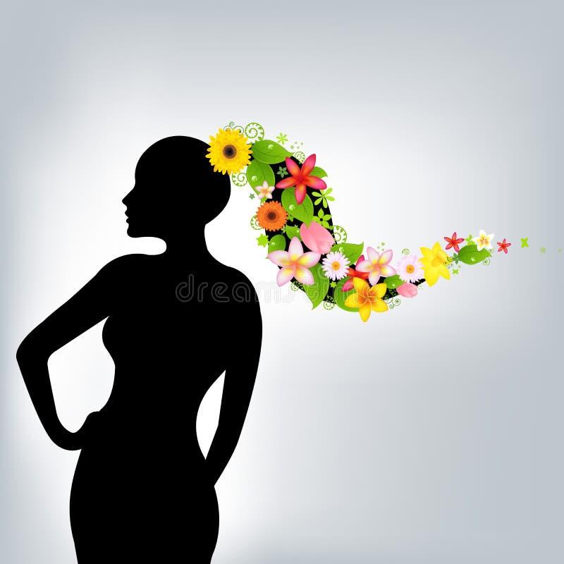 Mulher e flores ilustração royalty free