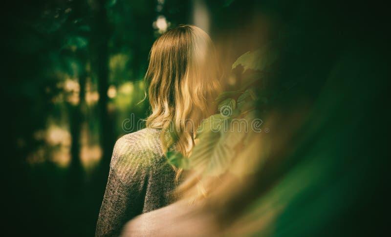 Mulher e floresta do outono foto de stock royalty free