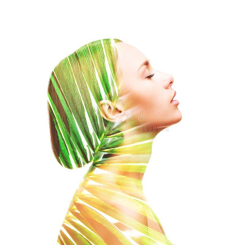 Mulher e folha de palmeira bonitas do perfil imagem de stock