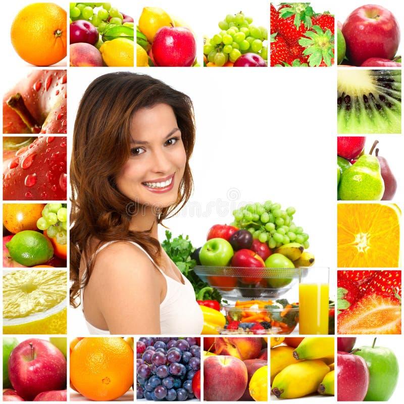 Mulher e frutas fotografia de stock