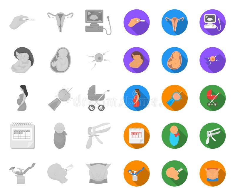 Mulher e gravidez mono, ícones lisos em coleção ajustada para o projeto Web do estoque do s?mbolo do vetor da ginecologia e do eq ilustração do vetor