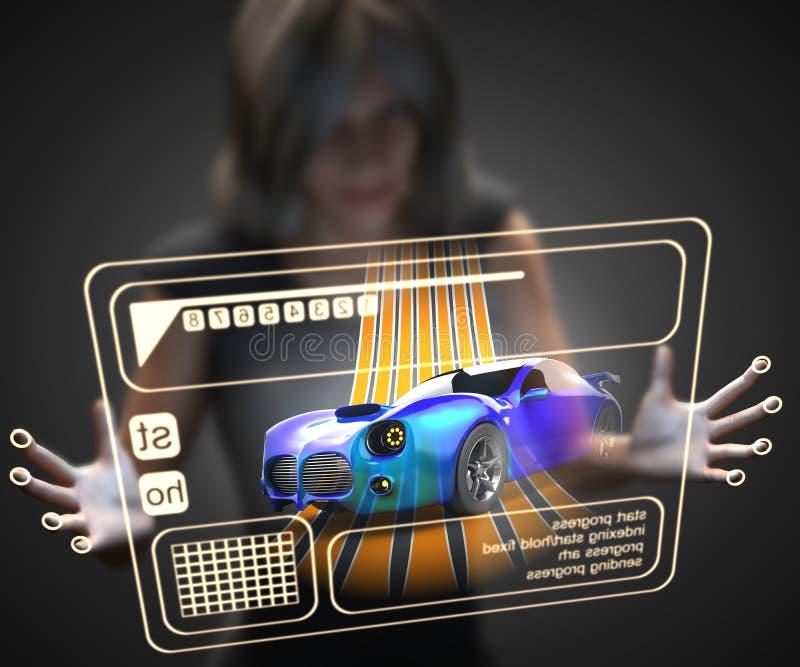 Mulher e holograma com carro desportivo ilustração stock