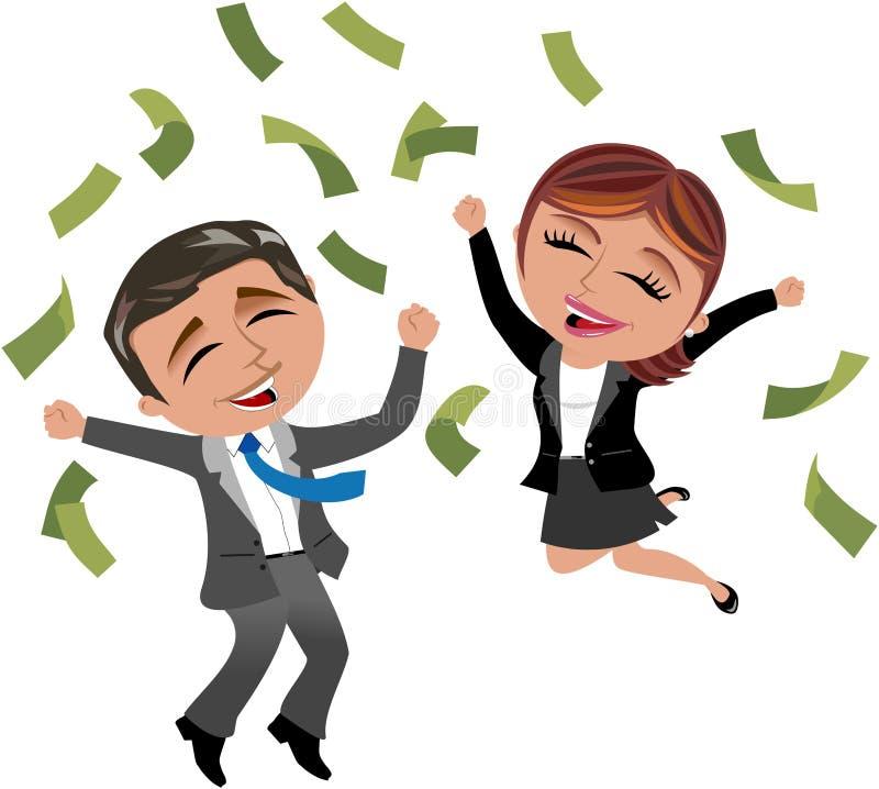 Mulher e homem bem sucedidos de negócio sob a chuva do dinheiro