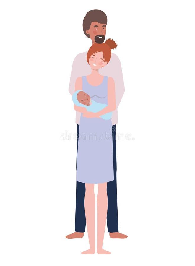 Mulher e homem com bebê recém-nascido ilustração do vetor