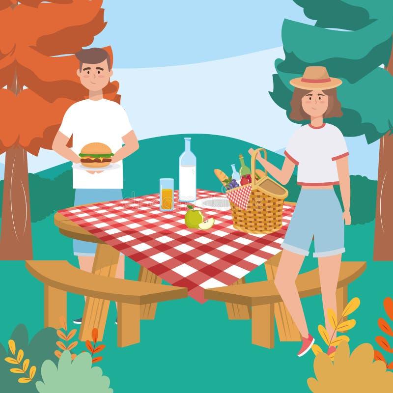 Mulher e homem com a garrafa do Hamburger e de leite com pão ilustração royalty free