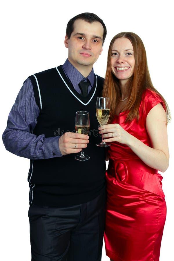 Mulher e homem com um vidro do champanhe imagens de stock