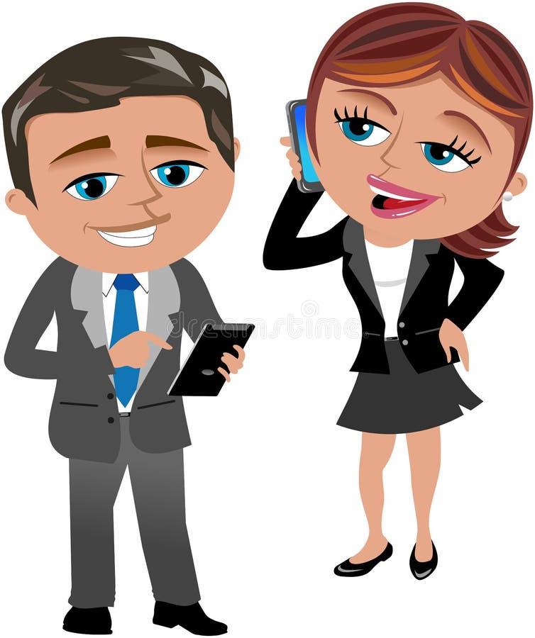 Mulher e homem de negócio que trabalham com móbil e tabuleta ilustração do vetor