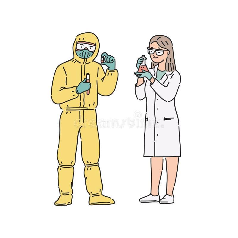 mulher e homem do Cientista-químico no uniforme profissional Ilustração dos povos do vetor na linha estilo da arte no branco ilustração royalty free