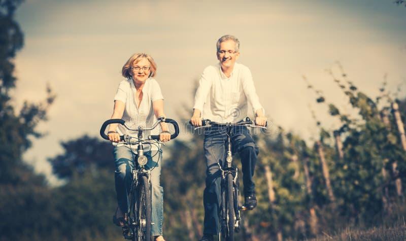 Mulher e homem superiores que usa a bicicleta no verão imagens de stock royalty free