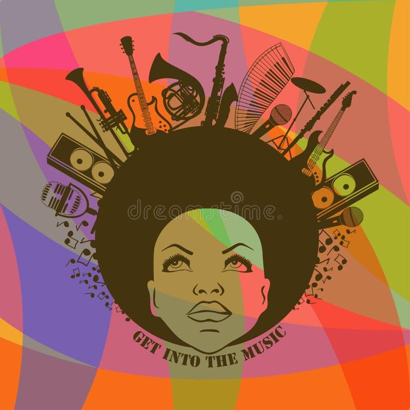 Mulher e instrumentos musicais ilustração stock