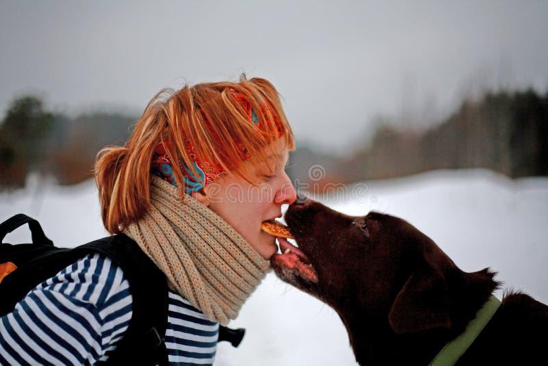 A mulher e Labrador compartilham de uma cookie imagens de stock royalty free
