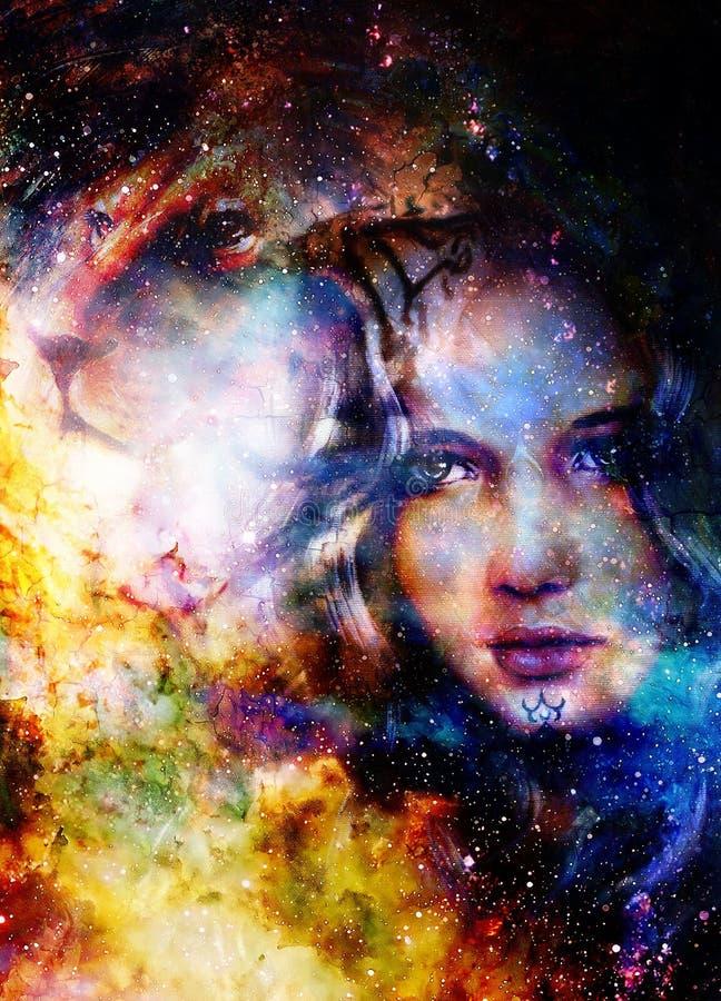 Mulher e leão de Goodnes Fundo cósmico do espaço ilustração do vetor