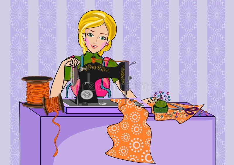 Mulher e máquina de costura ilustração do vetor