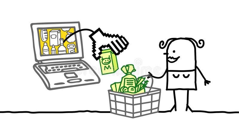 Mulher e mercado do cyber ilustração stock