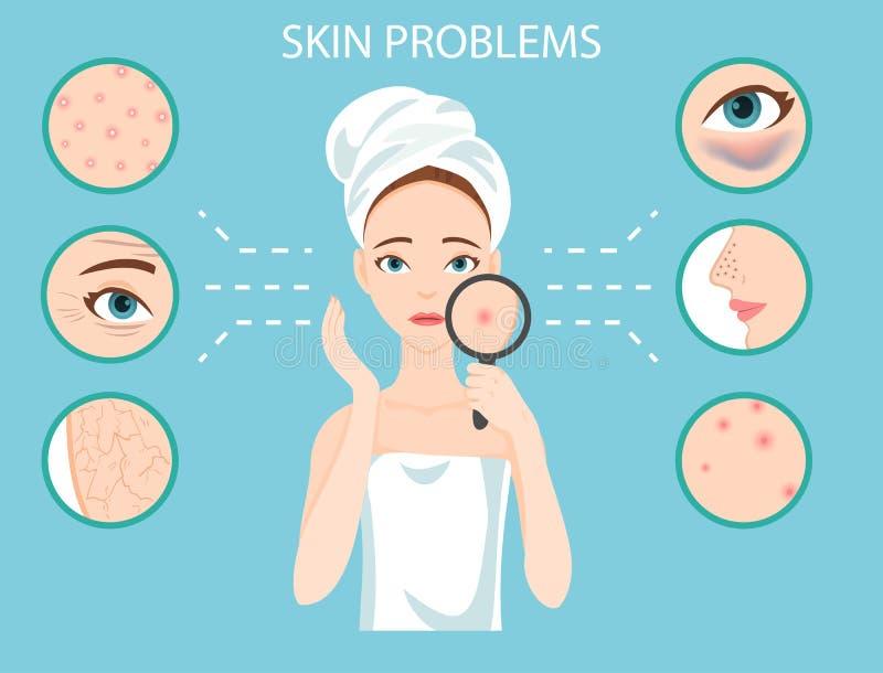 A mulher e o grupo incomodados dos problemas de pele faciais fêmeas os mais comuns precisam de importar-se aproximadamente ilustração royalty free