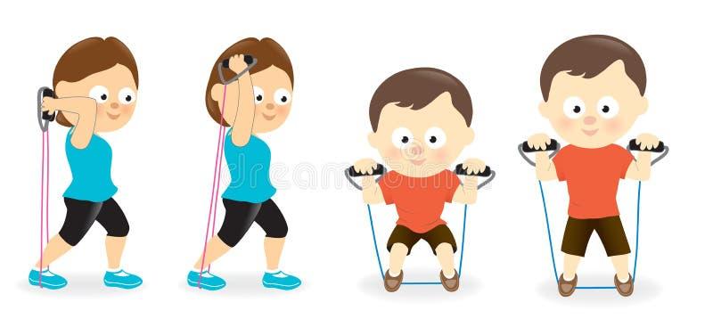 A mulher e o homem que exercitam com resistência unem os tubos ilustração stock