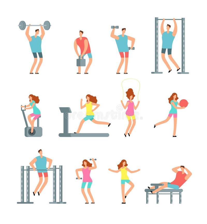 A mulher e o homem que fazem vários esportes exercitam com equipamento do gym Povos do vetor dos desenhos animados da aptidão, ex ilustração royalty free