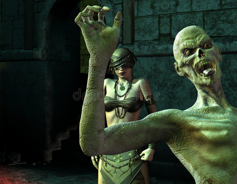 A mulher e o zombi cegos no Dungeon ilustração stock
