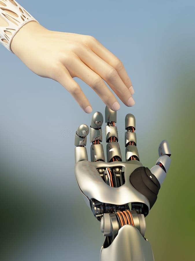 A mulher e os womanArms do robô ilustração do vetor