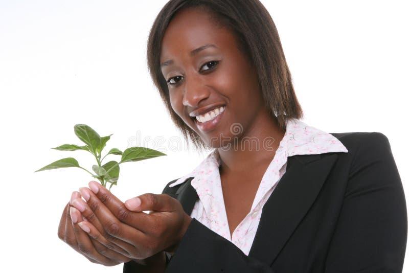 Mulher e planta bonitas do crescimento fotos de stock