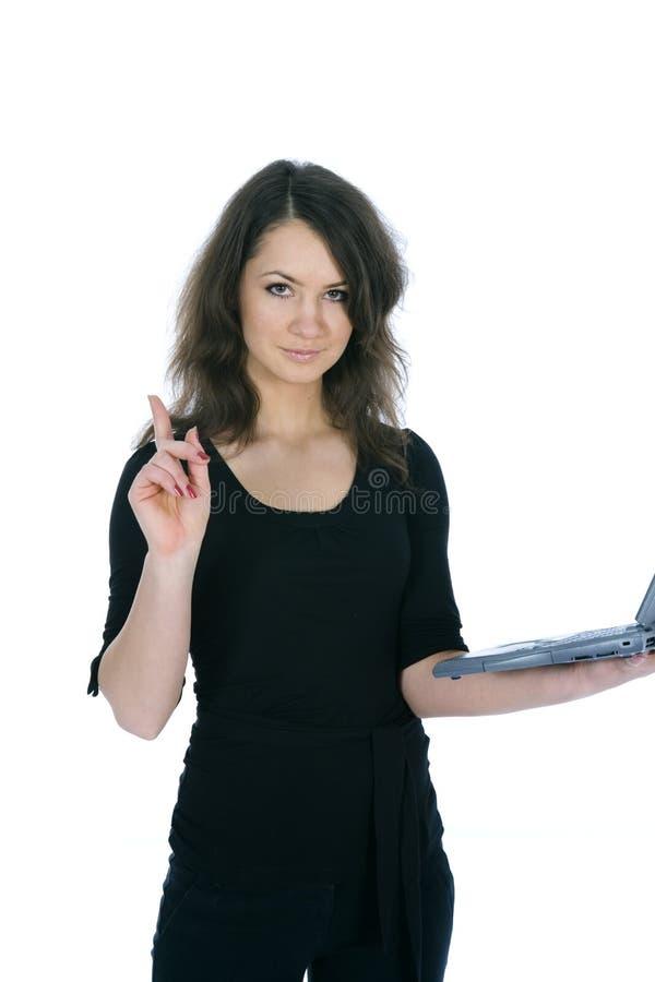 Mulher e portátil de negócio fotografia de stock royalty free