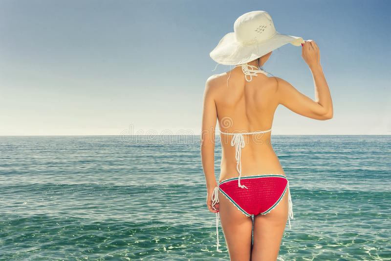 Mulher e praia foto de stock royalty free