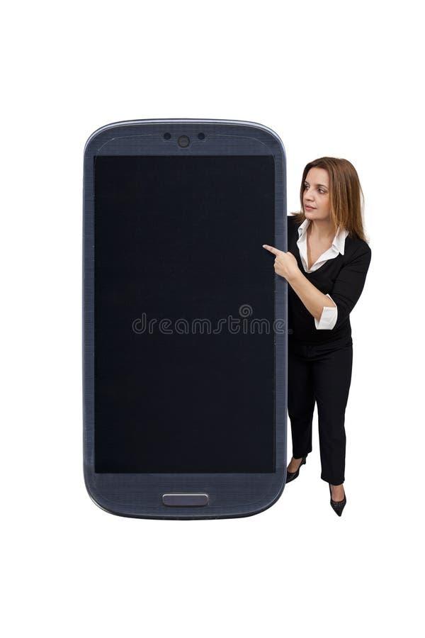 Mulher e smartphone brasileiros imagem de stock