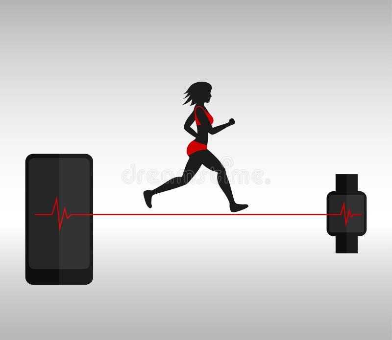 Mulher e smartphone running com smartwatch ilustração stock