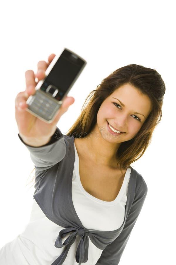 Mulher e telefone móvel fotos de stock royalty free