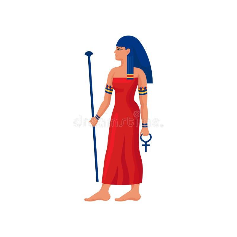 A mulher egípcia bonita com cetro e Ankh cruzam-se Caráter fêmea dos desenhos animados com cabelo azul no vestido vermelho brilha ilustração royalty free